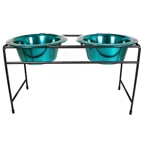 Platinum Pets Modern Double Diner Stand with Two 2 Cup Rimmed Bowls Teal ** This is an Amazon Affiliate link. Want additional info? Click on the image.