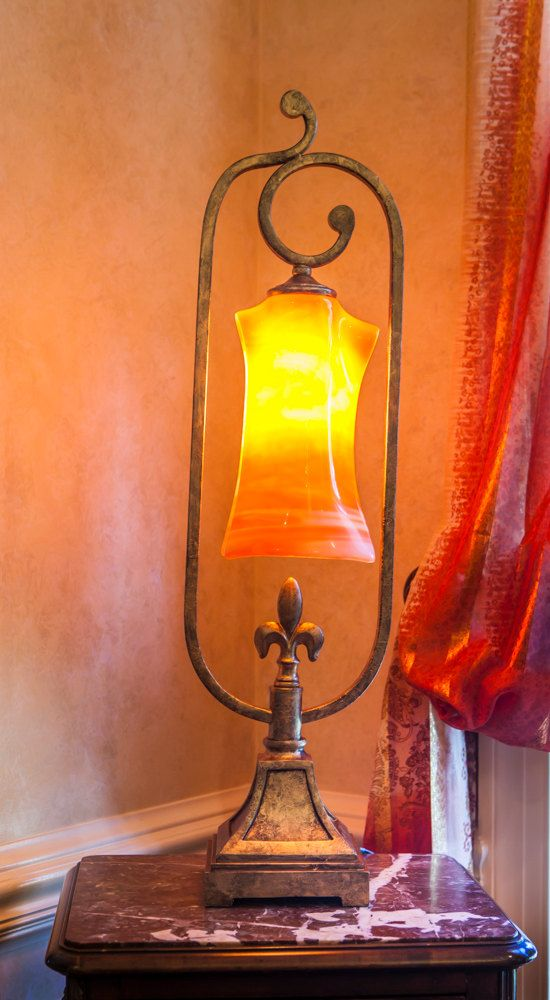 Vintage table lamp Fleur de lis lamp glass table by VardaAGlass