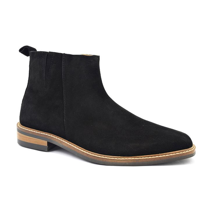 Buy mens black suede zip-up boot with rubber sole. Designer black suede zip-up boots for men with style and quality. Original suede boots for men. Free del.