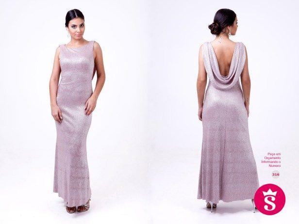 316 - Vestido Longo Rosa com Brilho