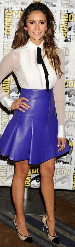 Nina Dobrev, purple leather skirt