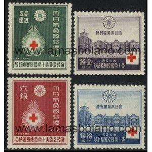 SELLOS DE JAPON 1934 - CRUZ ROJA 15 CONGRESO INTERNACIONAL EN TOKYO - 4 VALORES SEÑAL FIJASELLO - CORREO