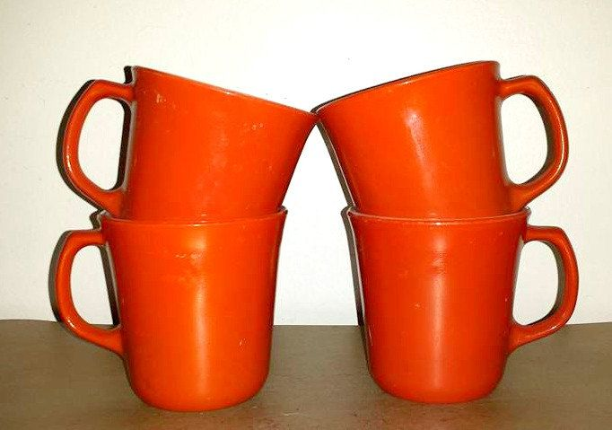 Corning Burnt Orange Mugs,Set of 4,Milk Glass Mugs,Corning Ware Mugs,Sienna,Coffee Mugs,Retro Kitchen,Milk Glass,Cinnamon,Kitsch, Retro by JunkYardBlonde on Etsy