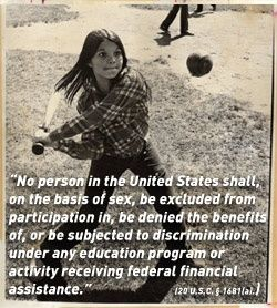 Title IX, this is where it begins; a field, a ball and a girl. What does it yield? Fairness, competition, inclusion, opportunity, and most importantly...confidence. This helps guide young women for their entire lives. And this enriches all of us. Makes you feel proud to be American, no?