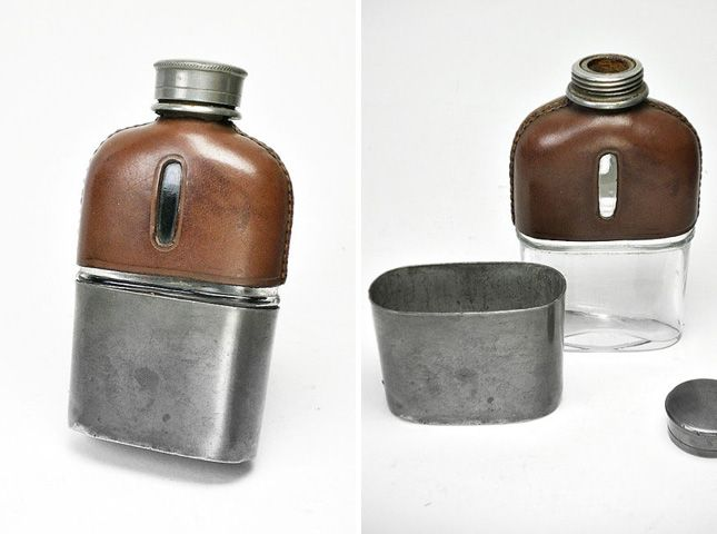 "22 ""Hip"" Flasks for Happy Hour via Brit + Co. Antique Glass Flask with Pewter Cup"