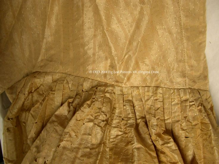 Side seam waistline showng box pleated skirt of gown c. 1770s.  Sumter County Museum, SC.