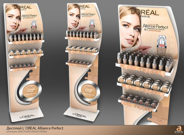 L`oreal displays by Nikolay Grachev, via Behance