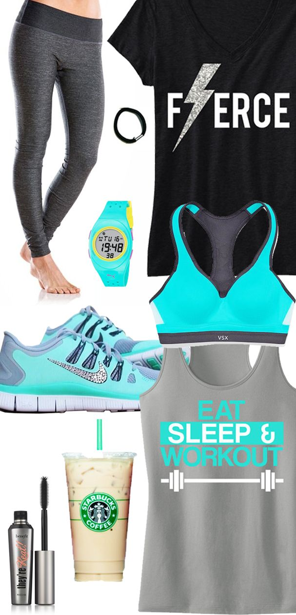 Awesome Sparkle & Teal Mint Colored #Workout Gear Theme! #GymShirts are from #NoBullWomanApparel and are $24.99 on Etsy. Click the pic above for FIERCE & here to see the EAT SLEEP & WORKOUT www.etsy.com/listing/177863389/eat-sleep-workout-tank-top-workout?ref=shop_home_active_25