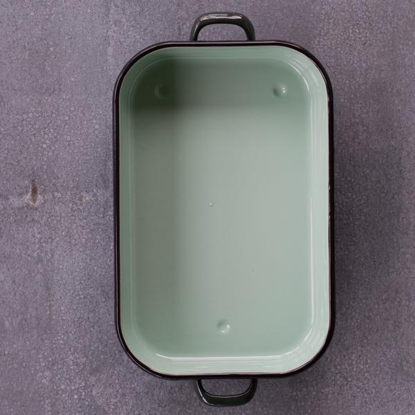 Romanian enamel baking pan, green
