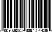 Bar Code Be Yourself Don't Conform Tattoo