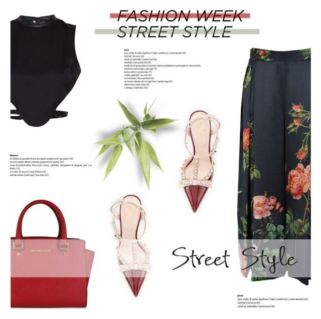 """NYFW Street Style: Day One"" by antemore-765 ❤ liked on Polyvore featuring Morgan, MICHAEL Michael Kors, Kate Spade, NYFW, croptop and michaelkors"