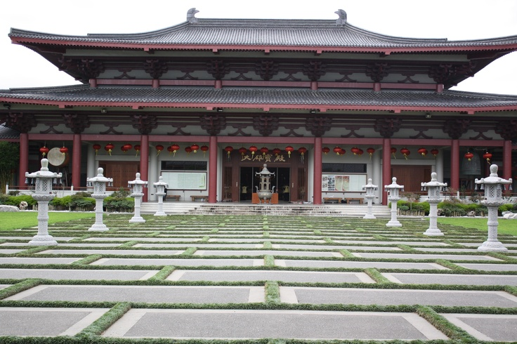 Part of the Temple and the Temple Courtyard at the Fo Guang Shan Buddhist Temple, Auckland.