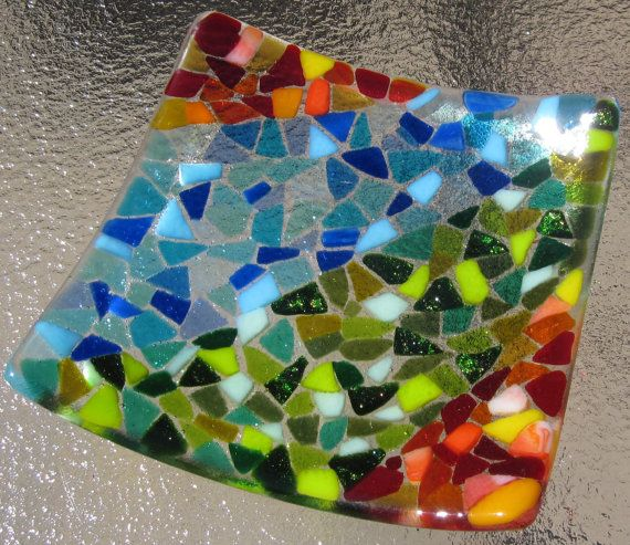 Fused Glass Mosaic Plate Sunset Sea and Leaves by Shakufdesign