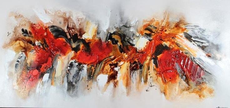Cuadro abstracto acr lico con fuertes texturas pintado - Cuadros con texturas abstractos ...