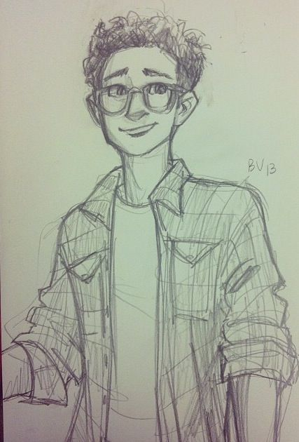 Eulus! + glasses. I may need to give that kid glasses. Lookit how cute he is! (drawing cartoon people guys)