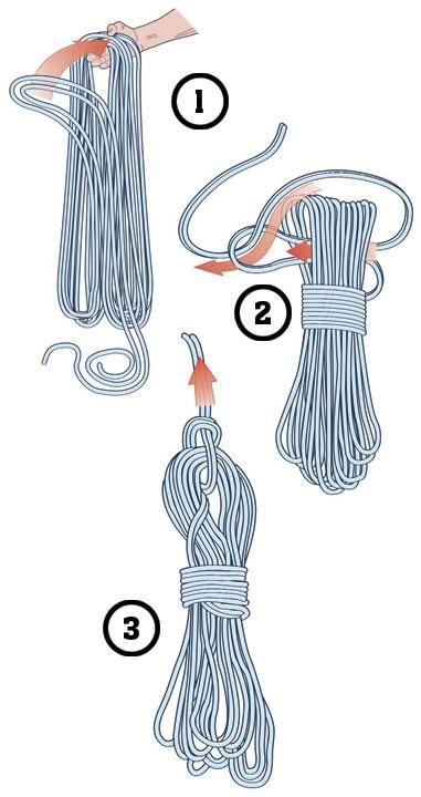 Como transportar una cuerda de escalada.