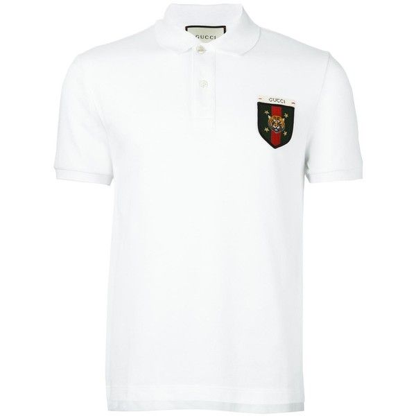 Gucci Web Tiger Crest Polo Shirt ($380) ❤ liked on Polyvore featuring men's fashion, men's clothing, men's shirts, men's polos, mens slim fit polo shirts, mens striped shirt, mens short sleeve polo shirts, mens polo shirts and mens slim fit shirts
