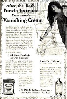 """Crema Pond's . En los años que preceden a la Gran Guerra ya la Crema Pond's es ofrecida como producto de  belleza. Como vemos en este anuncio de 1910, la crema era vendida junto con el extracto cuyas propiedades cicatrizante son recomendadas a la par de la """"Cold cream""""."""