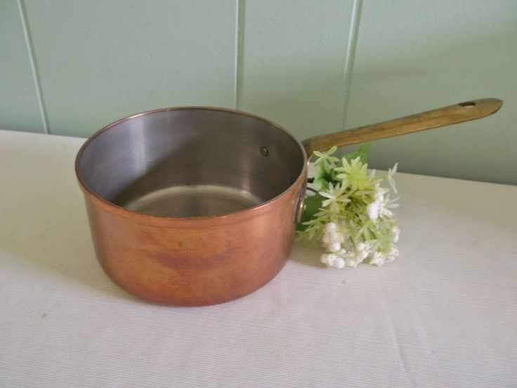 Copper saucepan, small pot, Made in Portugal, brass handle, holds 3 cups with room, gift for chef, cook, rustic kitchen decor cooking pans by GraceYourNest on Etsy