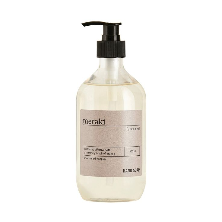 Designstuff offers exclusive skincare products including scented hand soap by Meraki, Denmark.