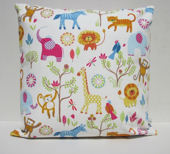 Jungle Boogie children's cushion cover with vibrant by SewSueHome