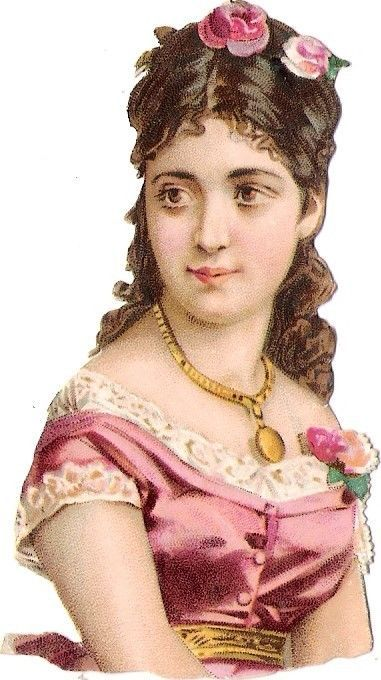 Oblaten Glanzbild scrap die cut chromo Dame femme lady Frau portrait rose