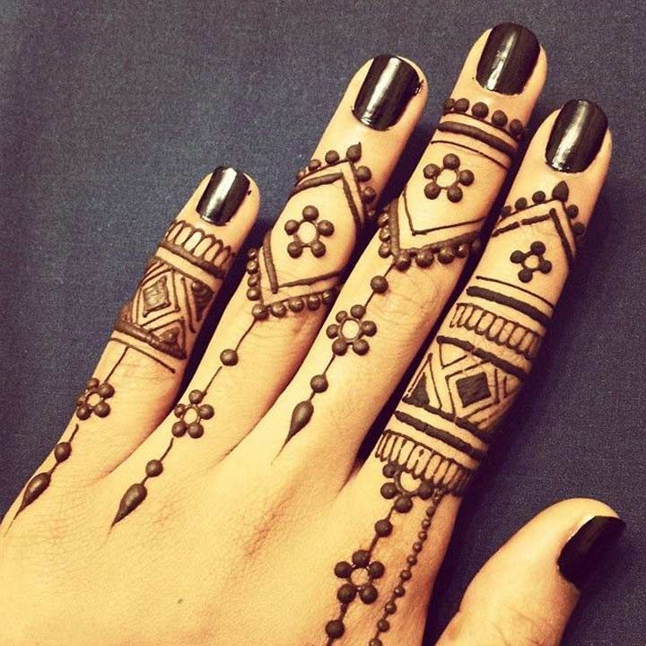 Traditional Arabic Mehndi Design For Fingers