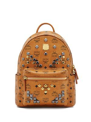 MCM Stark M Stud Small Coated Canvas Backpack. #mcm #bags #canvas #backpacks #