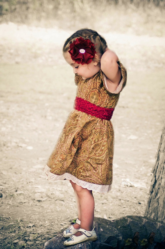 Girls Dress or Peasant Smock Top in Red Gold Paisley by gingerbugZ