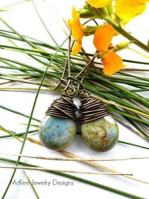 Mossy rocks. Teardrop Czech Picasso glass, bronze wire wrapping. Simple, everyday earrings, simple jewelry