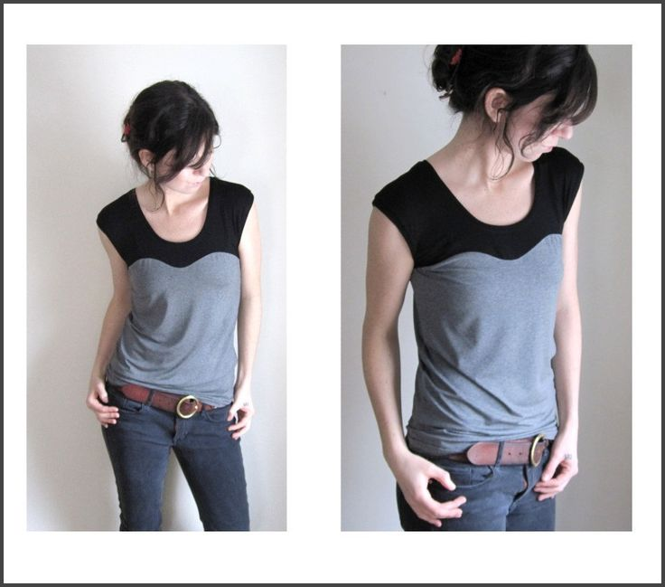 Oscillate Color Block Tee Shirt,  Charcoal and Black, Modal Blouse, Womens Top, Yoga Clothes, Custom Made to Order by THIMBLEandACORN on Etsy