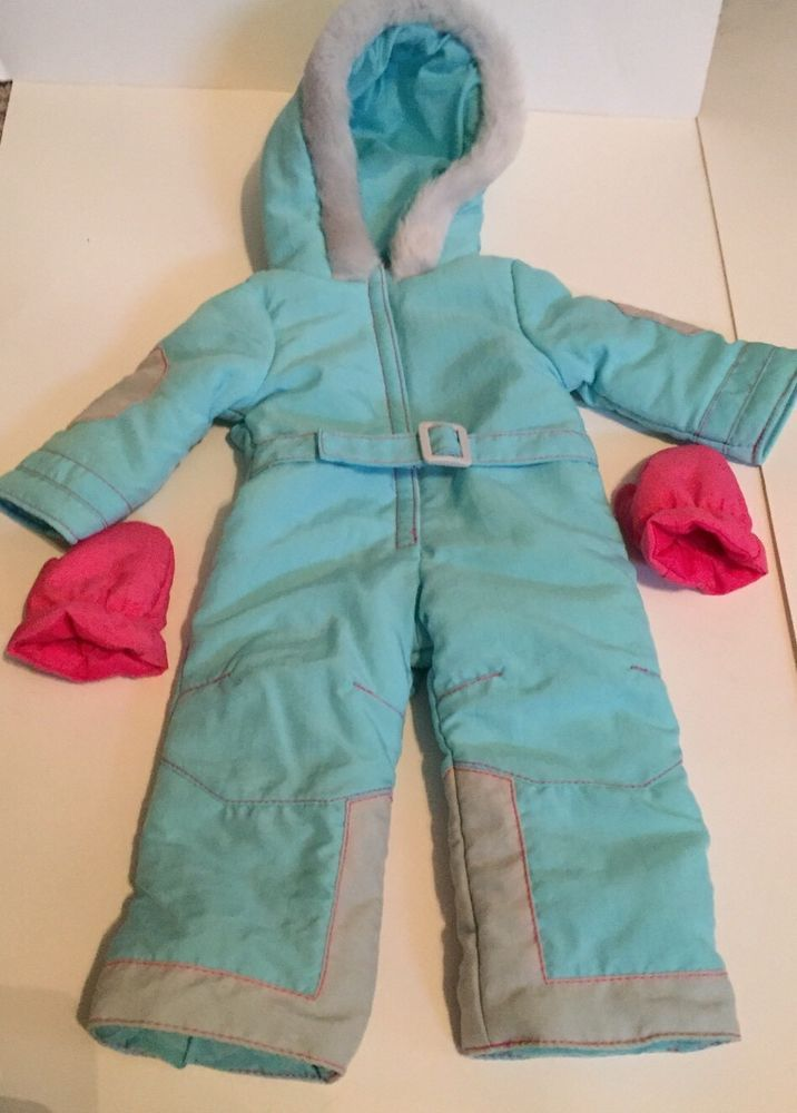 AMERICAN GIRL Ski Suit 3 Pc Set Outfit Blue Snowsuit Pink Mittens EUC for Doll #AmericanGirl #ClothingShoes