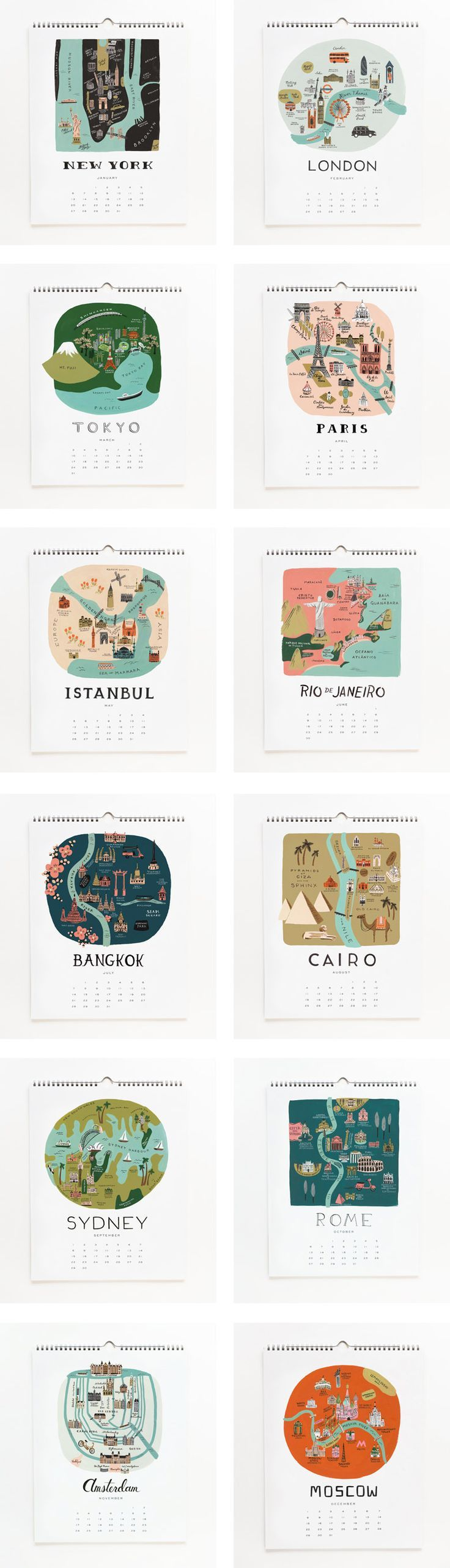travel calender-This would be fun to do with the towns we'll be in each month. Nothing as grand as these, but it would still be fun.: