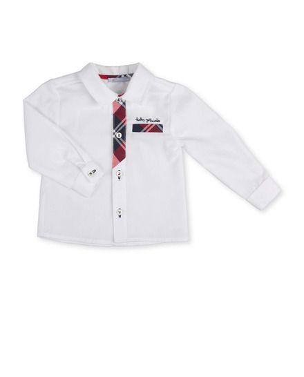 Camisa de bebé niño Tutto Piccolo blanca de manga larga