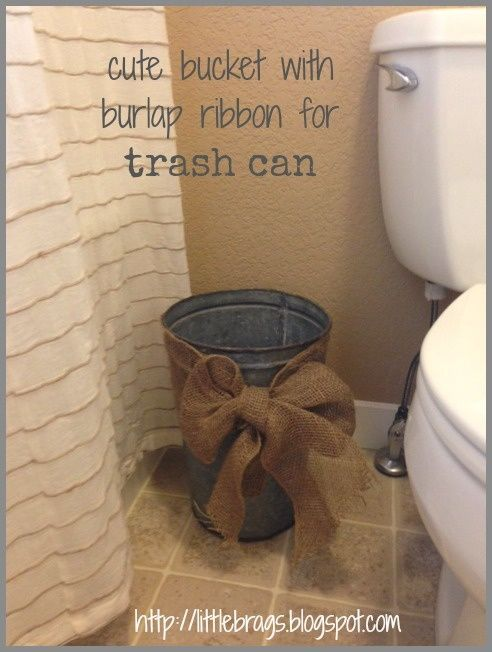 Cute Bucket With Burlap Ribbon for Trash Can: Guest Bathroom, Guest Bedrooms, Burlap Ribbons, Half Bath, Cute Ideas, Trash Can Ideas, Rusty Buckets, Bathroom Trash, Burlap Bows