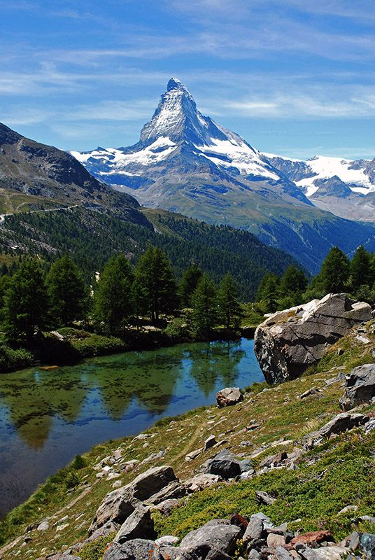 The Matterhorn and an alpine lake near Zermatt, Switzerland