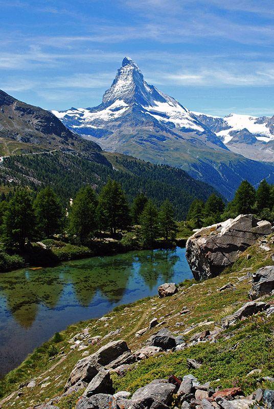 The Matterhorn and an alpine lake near Zermatt, Switzerland