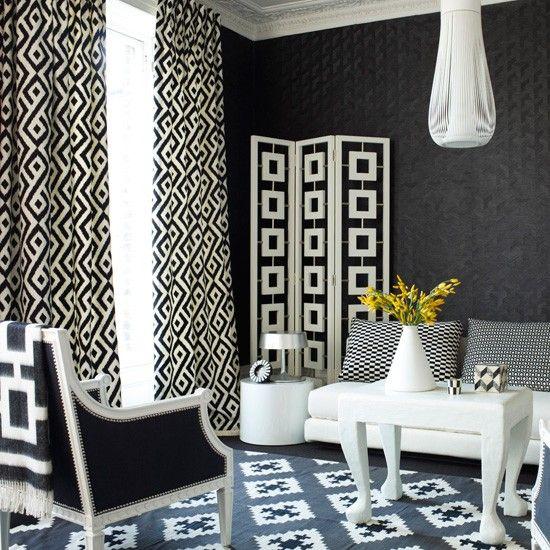 Monochrome geometric living room
