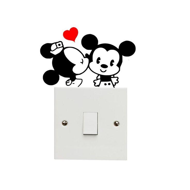 Cartoon Mouse Light Switch Decal Vinyl Sticker Mickey Minnie Love Kiss Kissing