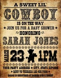 Personalized Western Themed Baby Shower Party Invitation - Wanted Poster Baby Shower Invitation with Picture. Cowboy / Cowgirl Theme Baby Shower Party Invitation