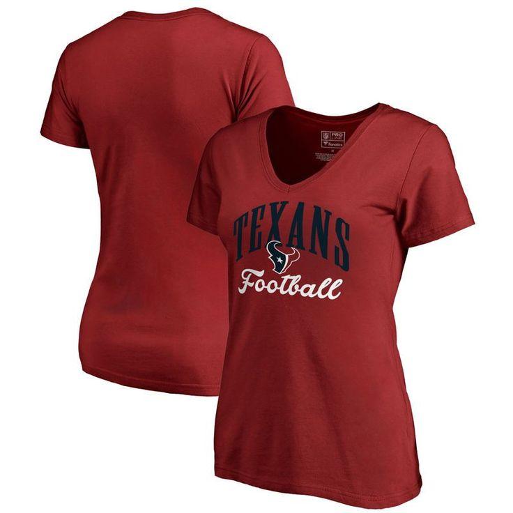 Houston Texans NFL Pro Line by Fanatics Branded Women's Victory Script V-Neck T-Shirt -Red