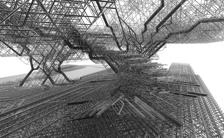 Since the initial setup always consisted from polyhedrons of known dimensions, any design iteration from the digital applet was easily translatable into physical model made of welded metal wires.