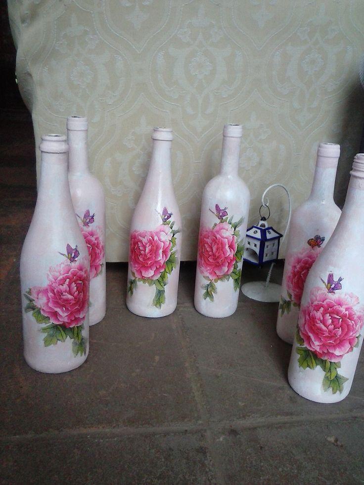 Botellas con decoupage.