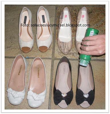 Para que nossos sapatos fiquem bonitos por muito tempo alguns cuidados são essenciais. O primeiro cuidado é com a limpeza. Todos os dias apóso uso, limpe-os por dentro e por fora com pano úmido quase seco, e deixe-os na área de serviço para respirar. Acima, em destaque, uma mancha causada por maus cuidados: o sapato…