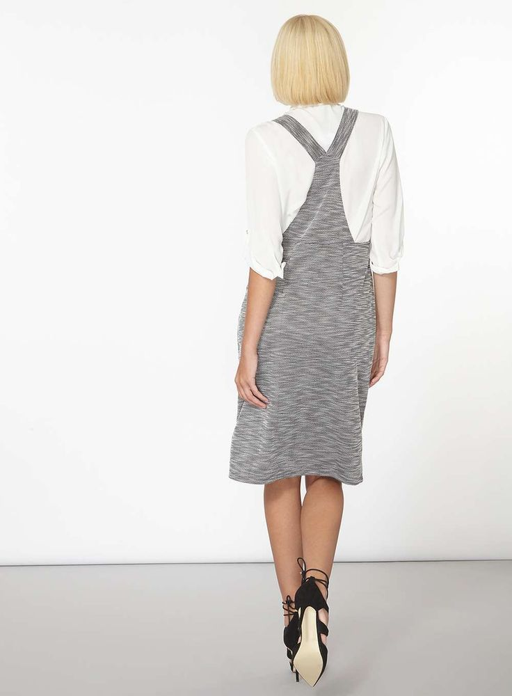 Womens Salt And Pepper Pinny Dress- Grey