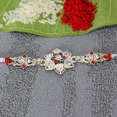 Buy online Beautiful Designer Silver Rakhi to your beloved brother