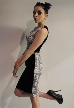 Pretty Disturbia Face Print Velvet Punk Grunge Pencil Skirt