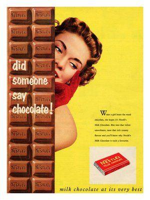 vintage chocolate ads and poster design   BP026 - Nestle Milk Chocolate, Vintage Advert, 1950s (30x40cm Art ...