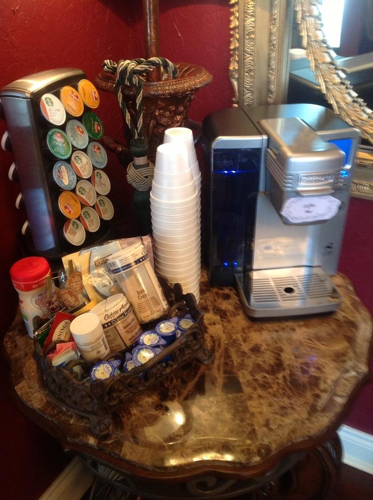 Bridal shower brunch... Coffee bar set up.