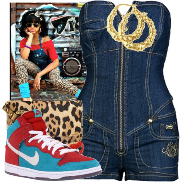 Around-The-Way-Girl. by pinkvulva on Polyvore featuring polyvore, fashion, style, Ecko Unltd., NIKE, ASOS, Roberto Cavalli, clothing and denim nike leopard print